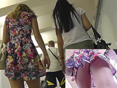 Girls in sexy shorts and light dress in upskirt video