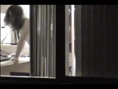 window peep girl gets nailed in front of window