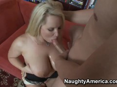 Mature blonde Rachel Love enjoys huge cock deep in her mouth