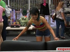 Oriental chick pawns her stuff and pounded at the pawnshop