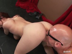 Cute ginger chick in sexy glasses Ashley Graham is pleasing her fucker Johnny Sins with hot tit and