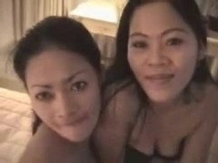 2 asian beauties banging on lucky boyfrend
