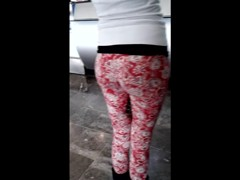 Teen wearing leggins at the airport