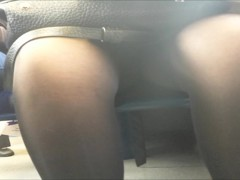 Sunlight across thighs and cleft encased in black tights 2