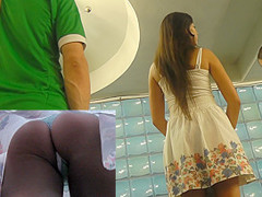 Attractive ass in upskirt thong movie by brunette gal