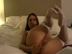 miss ashley masturbates in white stockings (anal with marital-device)