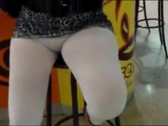 Transparent white leggings no panties in public.