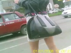 Beautiful Girl in a Short Skirt in Siberia