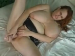 redhead with huge tits masturbating and squirting