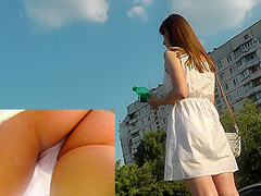 Skinny ass of young gal presented in oops upskirt act