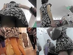 Lonely brunette got her upskirt view caught by voyeur