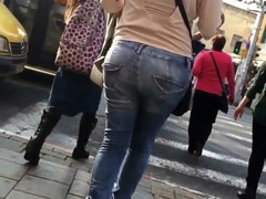 Tight jeans sexy ass with thong popping out walking