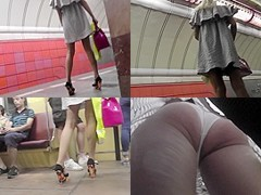 Great voyeur upskirt video exposes a skinny ass