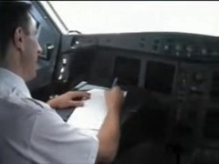 french stewardess exposes her big tits in the cockpit