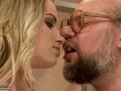 Teen doll Kimy getting her innocent mouth abused by a dirty old man