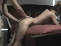 Slim floozy getting fucked and jizzed on the daybed