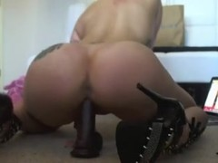 blonde chick with nice ass riding her new toy