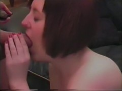 Natalie takes a load in her face hole and receives some up her nose