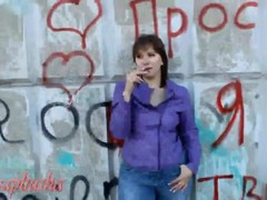 Russian wife role-playing as prostitute public oral