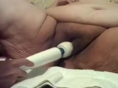 Corpulent granny acquires her cunt fucked with Hitachi magic wand