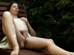 Black Brown girlfriend with diminutive love melons masturbating outdoors