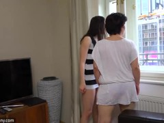 OldNanny Plump mature and pretty teen is playing with strapon
