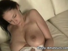 Busty amateur Gianna on solo masturbation