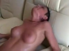 Sexy brunette fucks with her husbands boss.