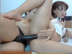 two web camera lesbos fucking every other with belt on