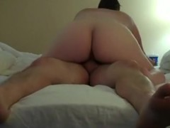 Mature couple has oral, cowgirl and missionary sex on the bed.