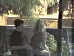 Voyeur tapes a girl riding her bf upskirt on a bench in the park