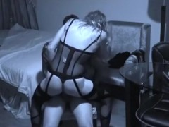 Girl with sex lingerie has sex with her bf on a chair