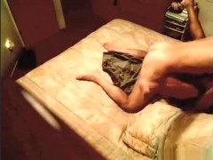 Horny milf talks dirty, while fucking her husband in the bedroom.