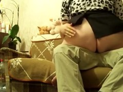 Chubby girl with huge booty rides her bf on the sofa