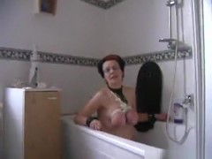 Tied up german serf milf has to suck and fuck her master's cock in the bathroom