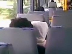 Voyeur tapes an arab hijab girl blowing her bf's cock in a public bus