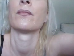 Cigarette in her face hole and cum on her face