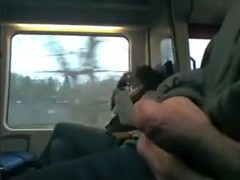 Sexually Excited guy strokes his dong on public transport.