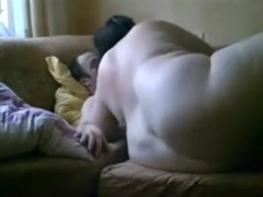 Fat girl has missionary, doggystyle and cowgirl sex on the sofa.