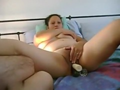 Three toys in her wide pussy