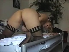 Submissive girl in sexy black stockings begs me to fuck her in the ass