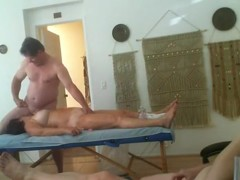 Threesome massage party. 2 old ladies take turns getting fucked.