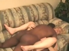 Cuckold eats the black creampie, after the black stud is done fucking his wife.