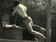 Voyeur tapes a partygirl riding her one night stand on a bench in the park
