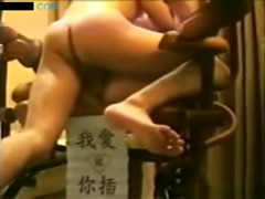 Asian girl with hairy pussy in panties missionary and doggystyle sex in a hotelroom
