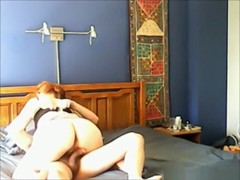 Redhead talks dirty and says that she feels him cumming inside her pussy !!!