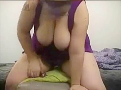 Hawt fat hotty rides a sex-toy and acquires off