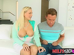 Naughty blonde stepmom and stepdaughter love sharing cocks