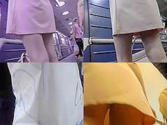 Upskirt porn with amateur brunette in a public place