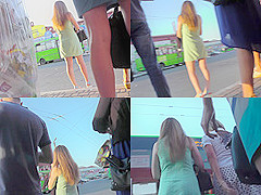 G-string upskirt footage of a redhead on a bus stop